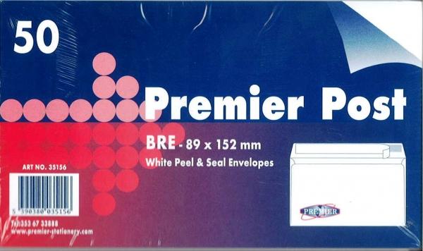 Bre Envelope White 50 Pack 89mmx152mm