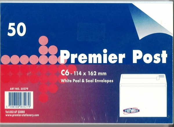 A6 Envelope White 50 Pack 114mmx162mm