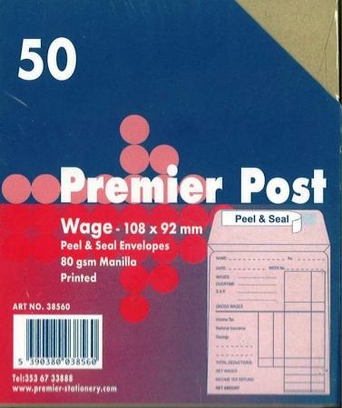 Wage Envelope Brown Printed 50 Pack 108mmx92mm
