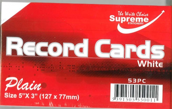 """Record Cards White Unruled 5""""x3"""""""