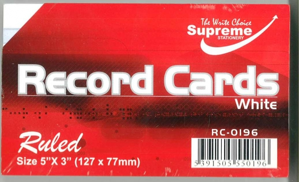 """Record Cards White Ruled 5""""x3"""""""
