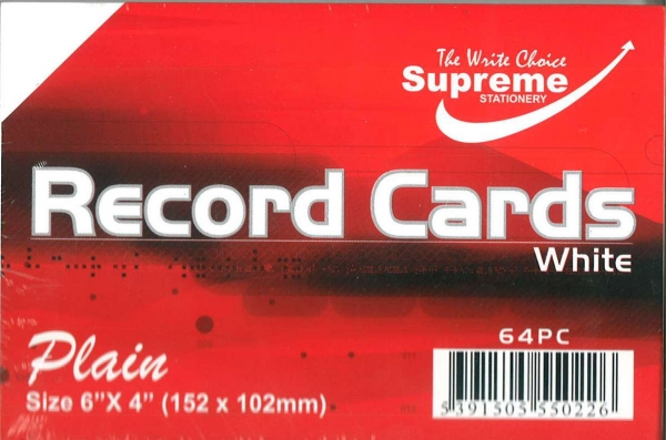 """Record Cards White Unruled 6""""x4"""""""