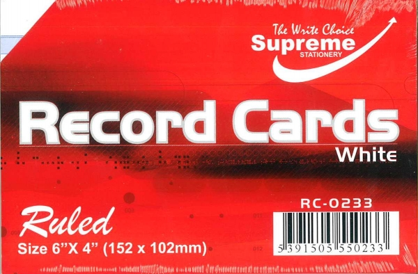 """Record Cards White Ruled 6""""x4"""""""