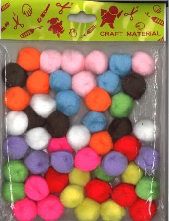 Pom pom assorted colours 50 pack