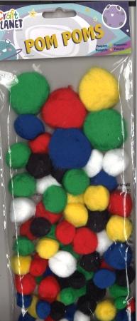 Pom pom assorted colours 100 pack