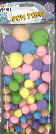 Pom pom assorted pastel colours 100 pack