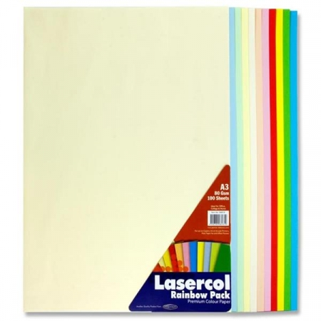 Rainbow Paper A3 Pack 100 - 80gsm