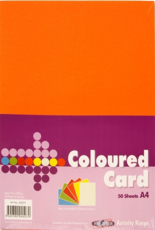 Orange Card A4 50 Pack 160gsm