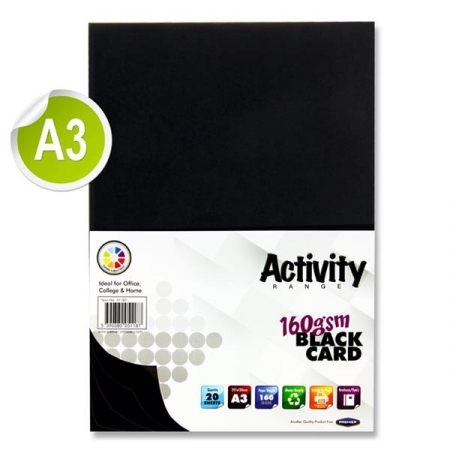 Black Card A3 Pack 20 - 160gsm