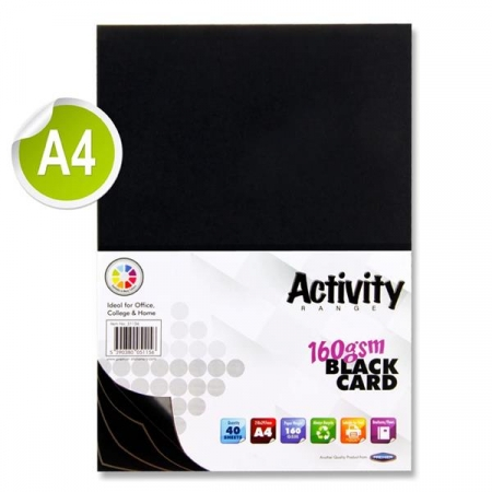 Black Card A4 40 Pack 160gsm