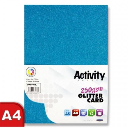 Glitter Card Turquoise A4 Pack 10 - 250gsm
