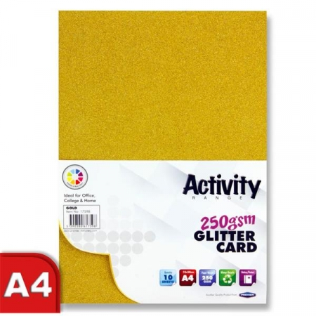 Glitter Card Gold A4 Pack 10 - 250gsm