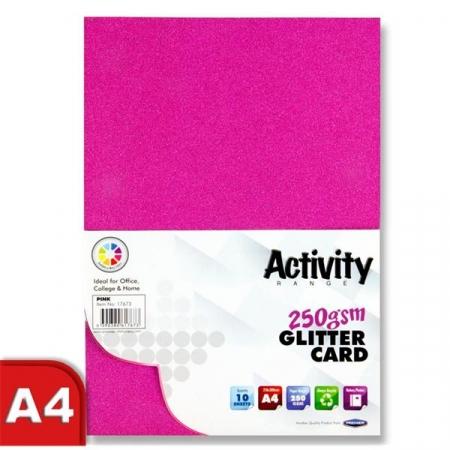 Glitter Card Pink A4 Pack 10 - 250gsm