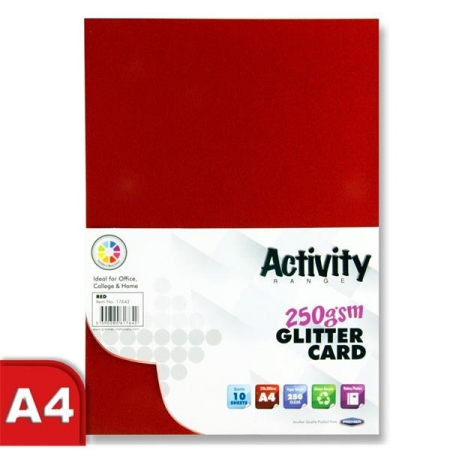 Glitter Card Red A4 Pack 10 - 250gsm