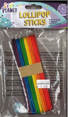 Lolli-pop Sticks Jumbo Assorted Colours 25 Pack