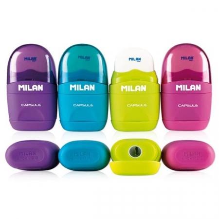 Milan Single Hole Barrel Sharpener & Eraser - Assorted Colours