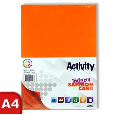 Orange Card (Saffron) A4 50 Pack 160gsm