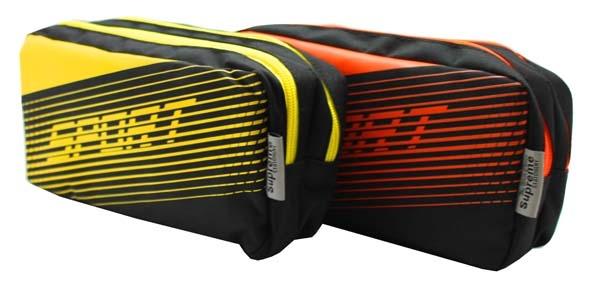 Pencil Case Double Pocket Rectangle - 2 Zip - Sport - Assorted Colours