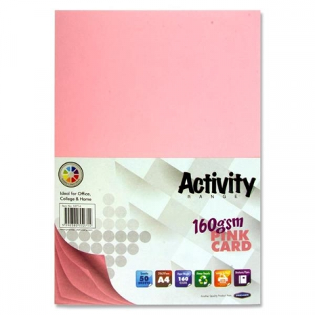 Pink Card A4 Pack 50 - 160gsm