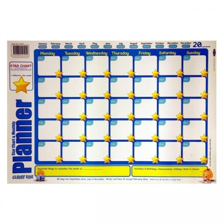 Poster Start Chart & Monthly Planner - Clever Kidz