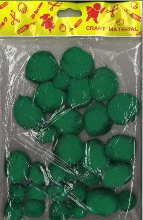 Pom pom 25mm & 40mm Pack 30 - Green