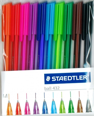Staedtler Ball Point Pens - 10 Pack - Assorted Colours