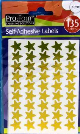 Stickers Gold Stars 135 Per Pack