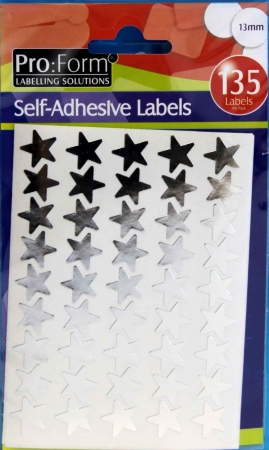 Stickers Silver Stars 135 Per Pack