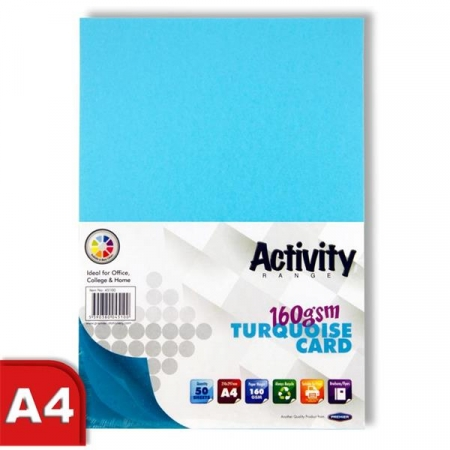 Blue Card (Turquoise) A4 50 Pack 160gsm